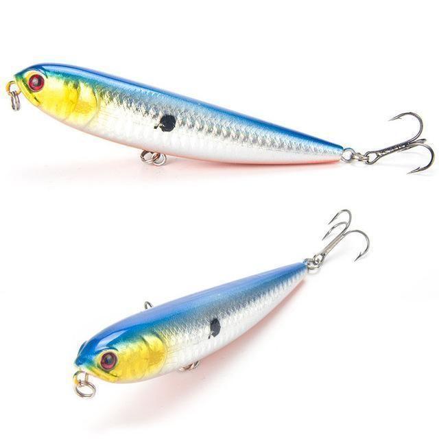 Fishing Lure Fish Hook Bait Pencil Top Water Dog Hard Artificial Hard Wobbler 1x