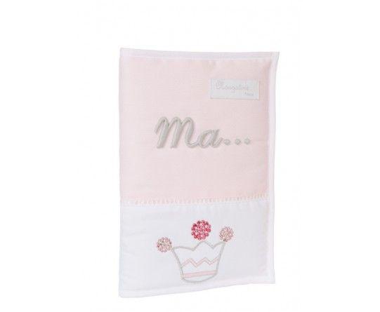 Protège carnet de santé pour bébé fille, blanc et rose