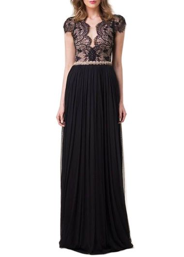 Lace and Chiffon Long Black Dress