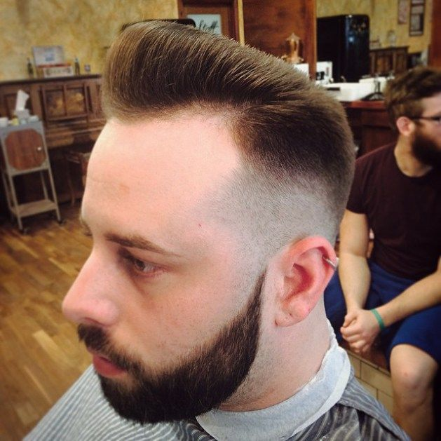 Flat Top Pompadour With Temple Fade