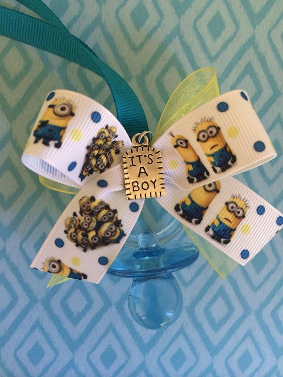 Minion Baby Shower Pacifier Necklaces by MarcenariPartyDecor, $19.99