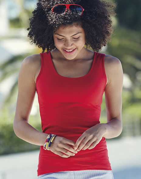 Sima üres póló női ujjatlan felső Fruit of the Loom. 5 féle színben! XS-S-M-L-XL-XXL méretekben! Könnyed nyári viselet! 100% pamut!