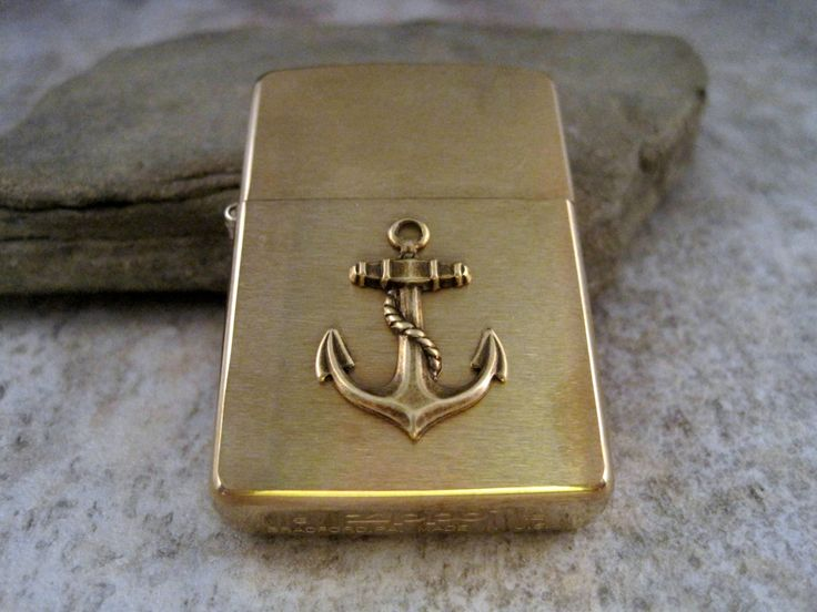 Genuine Brushed Gold Zippo Steampunk Nautical Anchor Cigarette Lighter | $38.50