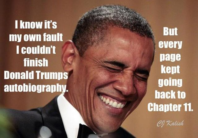 A funny joke poking fun at Donald Trump's bankruptcies.