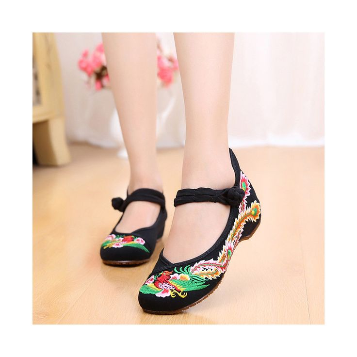 Colorful Phoenix Old Beijing Embroidered Cloth Shoes Woman National Style Square Dance black
