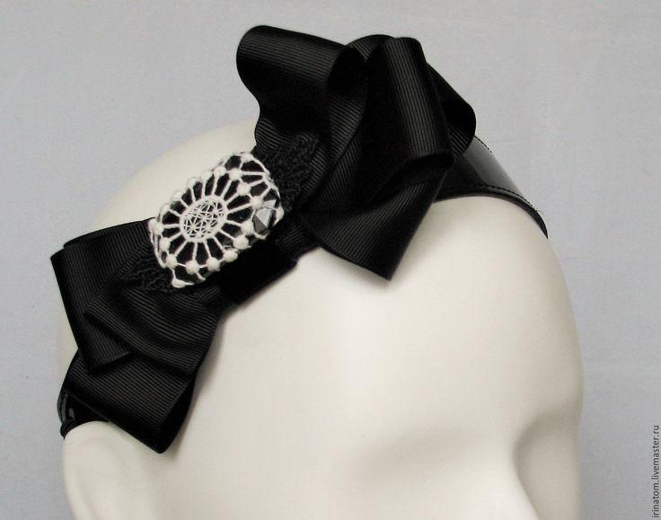 Купить Ободок повязка для волос с бантом и кружевом. - черный, ободок для волос, ободок с бантом