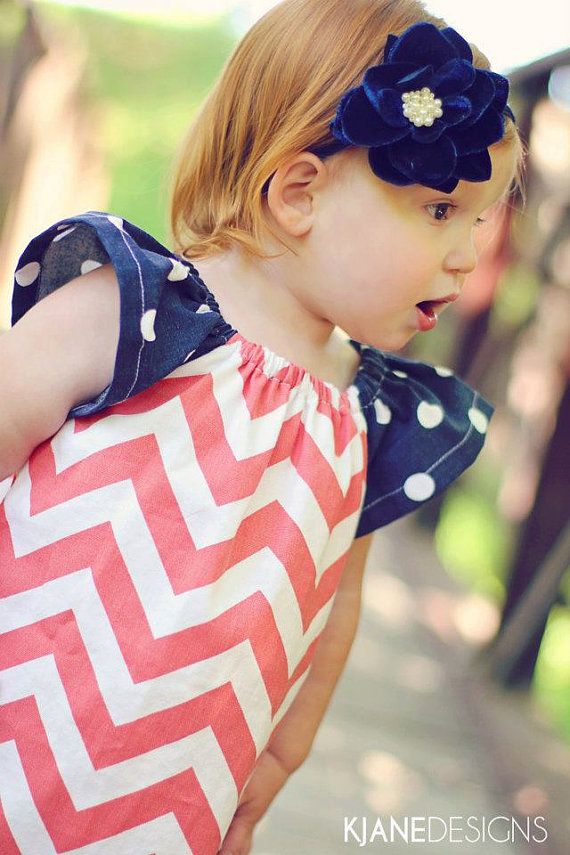 White and coral chevron dress with navy sleeves with white polka dots for girls size 6months to 7