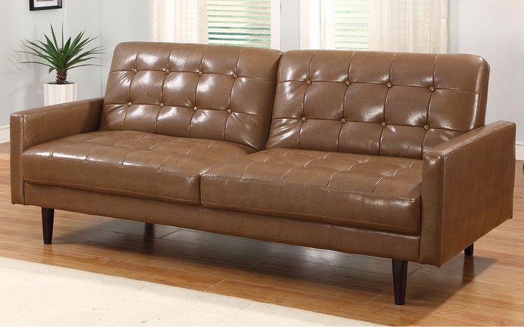 Living Room Furniture Tufted Modern Brown Full Grain