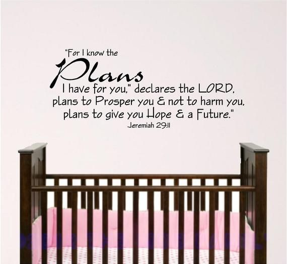 Nursery Wall Art Jeremiah 29 11 For I Have Plans For You Etsy Nursery Wall Decals Boy Bible Verse Wall Decals Nursery Wall Art Boy