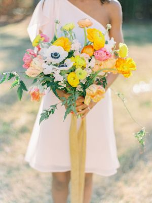 Pink and Yellow Bouquet | photography by http://lovebyserena.com/
