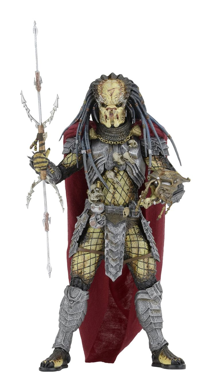 "NECA Predator Series 17 AVP Elder Action Figure, 7"". Elder Predator is based on the 2004 film Alien vs Predator. Elder Predator wears a regal soft goods cape with real chains. Accessories included: removable mask and staff. Features interchangable hands and blades with other NECA Alien vs Predator figures. Each figure stands about 8.25 inches tall with over 30 points of articulation."
