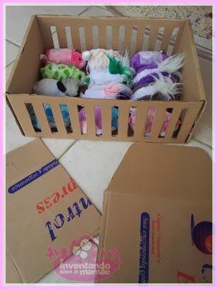 Como fazer um berço para as bonecas reutilizando uma caixa de papelão.