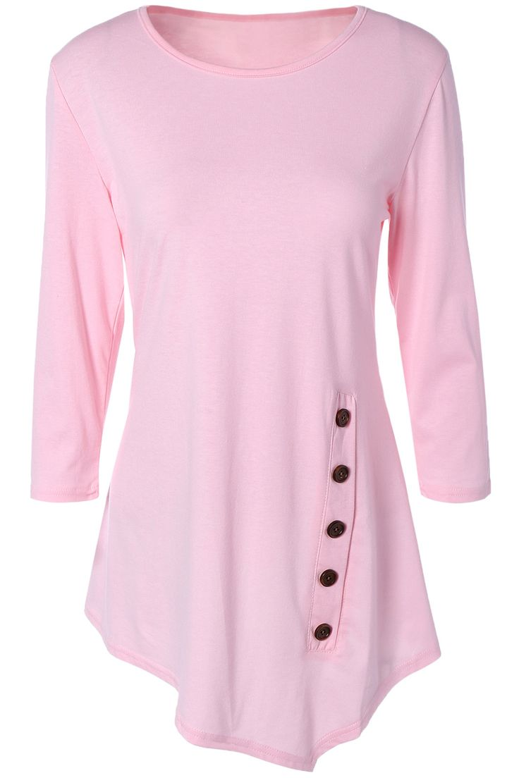 $10.16 Pure Color Button Asymmetric Blouse