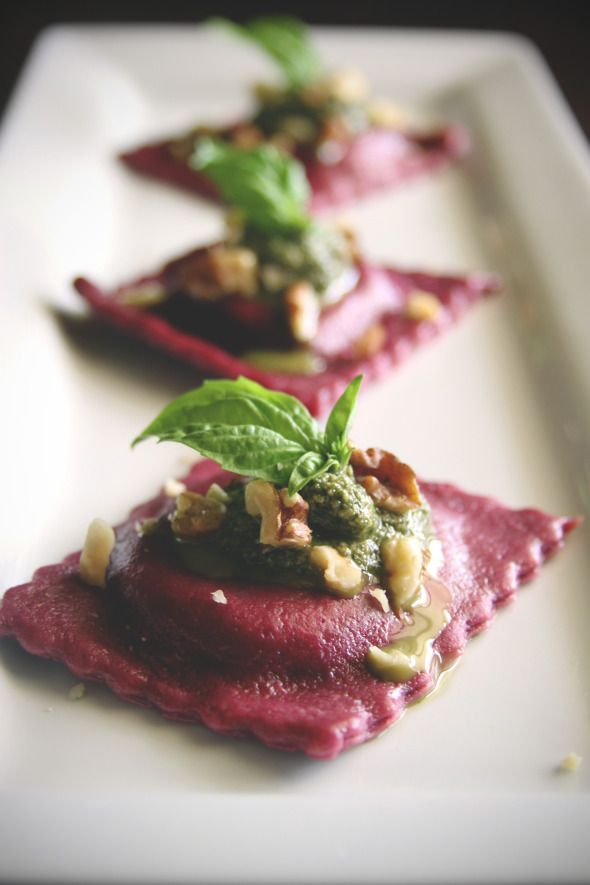 goat cheese + sweet pea stuffed beet ravioli, mint + walnut pesto