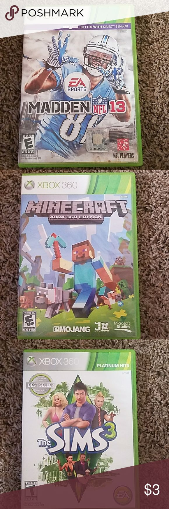 Xbox 360 games Dishonored, Skyrim Legendary Edition, Madden NFL 10, The Walking Dead Survival Instinct, Bad Company Battlefield, Sims 3, Minecraft, Madden NFL 13 Other