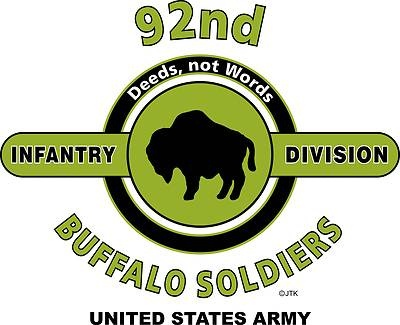 "92nd Infantry Division ""Buffalo Soldiers"" United States Army Shirt.  WORLD WAR II  Mediterranean & European Campaigns: North Apennines* Po Valley.  (August 1945 Location: Torre Del Lago, Italy)  (Killed In Action; 548)  (Wounded In Action: 2,187)  (Died Of Wounds:68)"