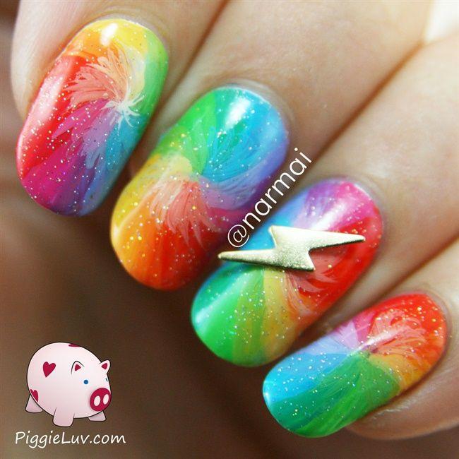 Piggieluv Rainbow Bubbles Nail Art: Rainbow Flash Nails! By PiggieLuv Via @nailartgallery