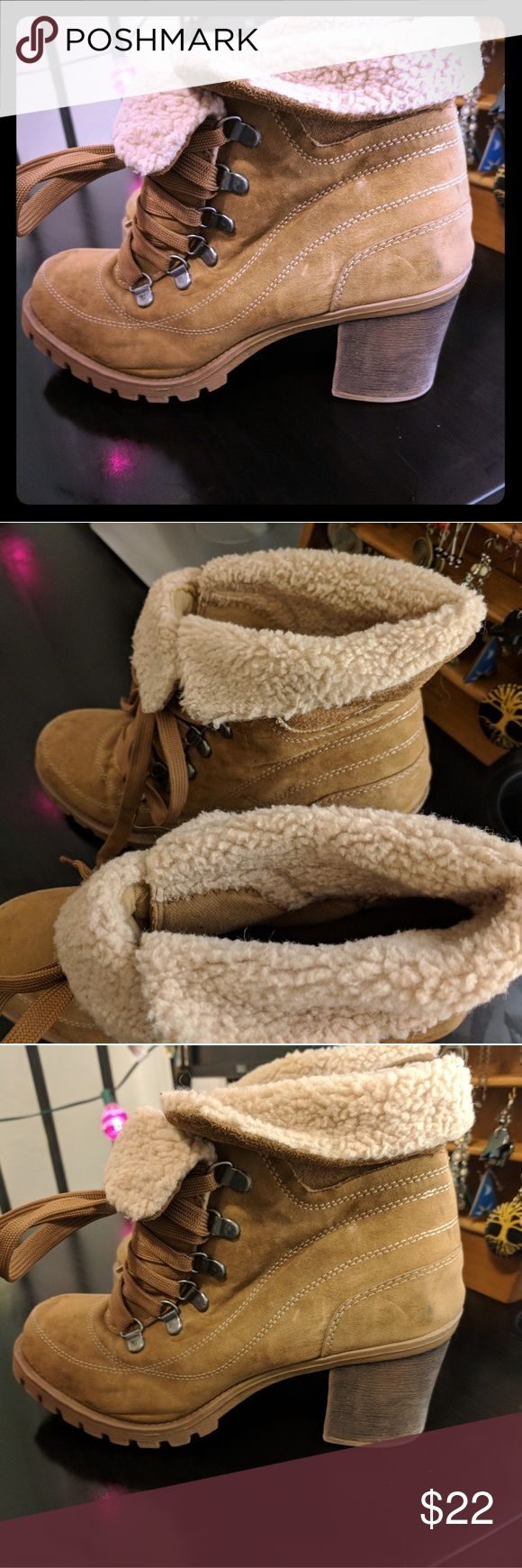 Jellypop Heeled Fur-lined Boot 🏔️ Tan Explorer Boots, With Fuzzy Foldovers, Snow Tread, Metal Lace Clips And Extra Long Laces. So cute and comfy! I love them, but moved to a warmer location 🐺   Great condition with s few small marks on toe (in photo)  Jellypop Heeled Fur-lined Boot 🏔️ Jellypop Shoes Heeled Boots