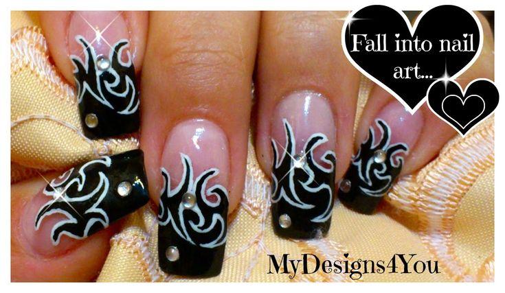 Tattoo Nail Art Design Tutorial | Black and White Nails ♥ Дизайн Ног…