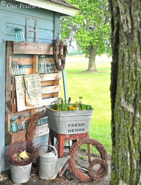 Rustic Garden Display With Grapevine Wreaths, Pallet,  & Vintage Washing Tub & Mason Jars