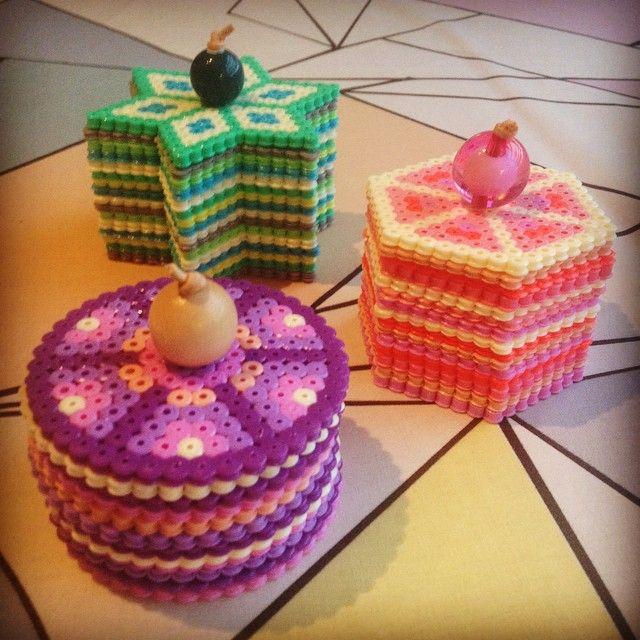Boxes hama perler beads by Michele Bay Olsen