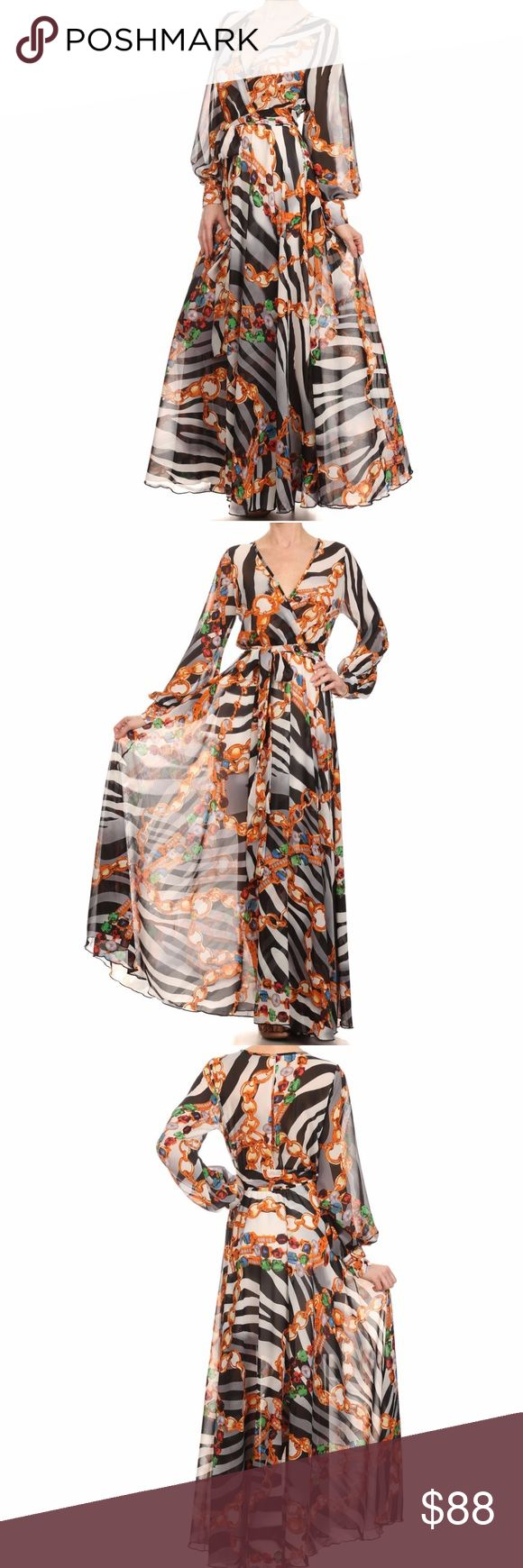 Zebra Chain Print Chiffon Faux Wrap Maxi Dress Beautiful Chiffon Faux Wrap Maxi Dress. Gorgeous Animal Zebra Chain Print. Surplice V-neck, elastic waist with attached sash belt, sheer long sleeves with 2-button cuffs, full sweep flowing skirt. Skirt has a stretch mini slip lining, the top is sheer chiffon and has no lining. Made of polyester chiffon. High Quality. Made in USA. Brand New factory direct.  Size S 2/4: Bust 33-34 Waist 25-26 Hips 35-36 Size M 6/8: Bust 35-36 Waist 27-28 Hips…