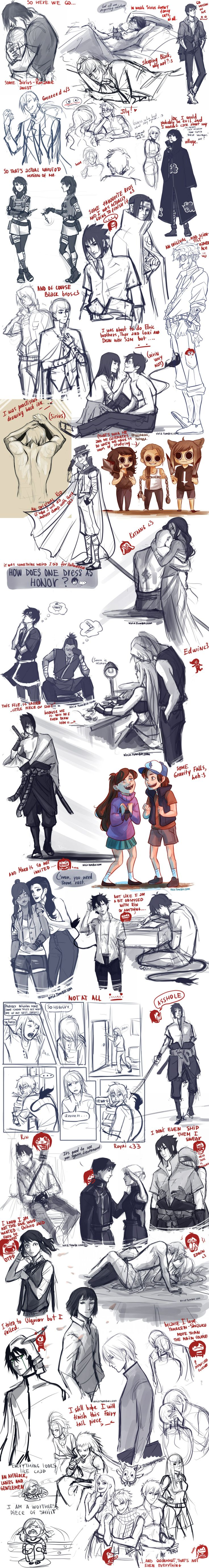and then you wonder why you have an artblock... by viria13 on deviantART. ((I just adore sketchdumps don't ask me why))