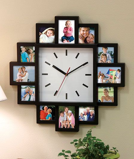 MULTI FAMILY PHOTO PICTURE FRAME COLLAGE WALL MOUNTED CLOCK BLACK SILVER DECOR | eBay