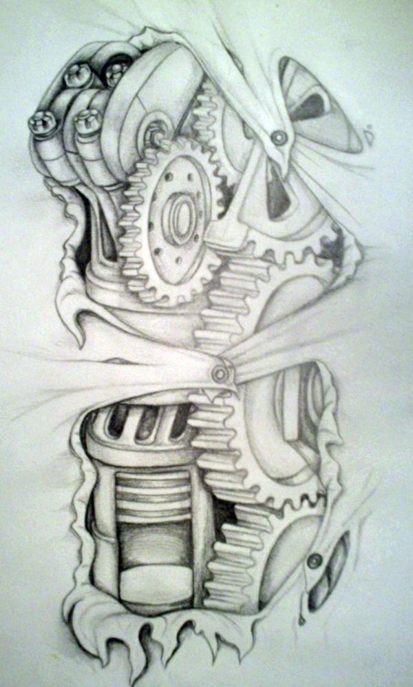 Biomechanik Tattoo - Röhren, Schläuche, roboterhafte Teile und Arterien sind von den Darstellungen, die auf verschiedenen Körperstellen tätowiert werden...