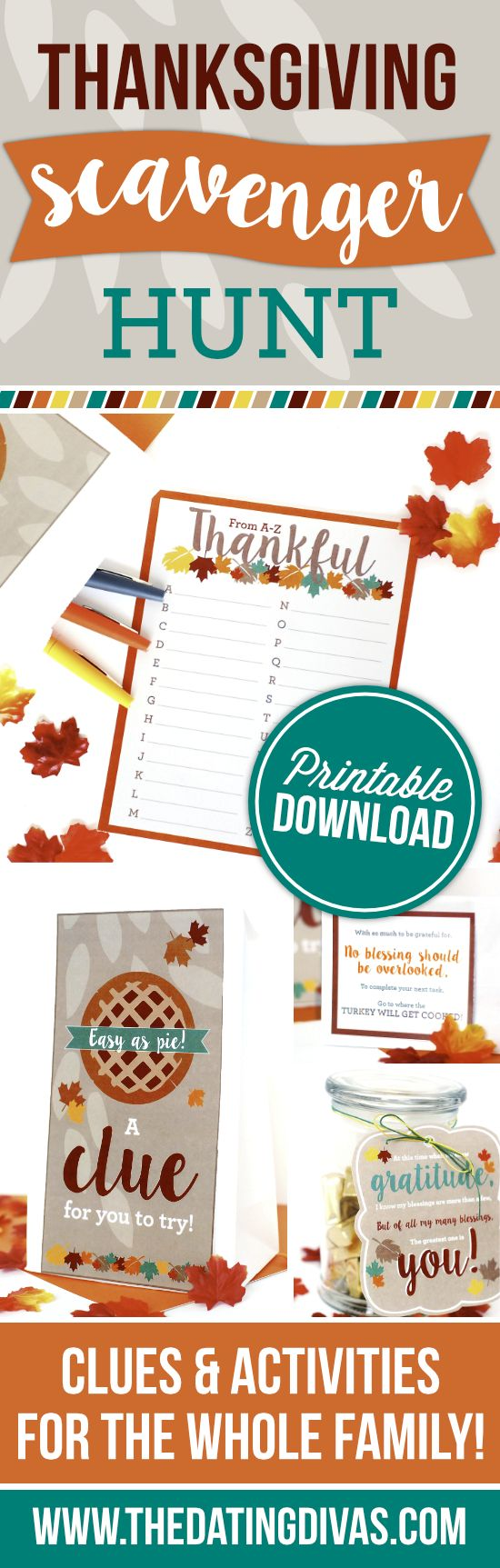 Clues and activities for a Thanksgiving Scavenger Hunt the whole family can enjoy! Each stop on the scavenger hunt includes a Thanksgiving-related task - my family will love this!