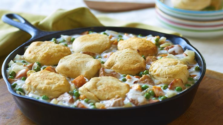 Fall Skillet Pot Pie Store-bought rotisserie chicken, refrigerated biscuits and an oven-proof skillet make this comfort food favorite a weeknight reality.