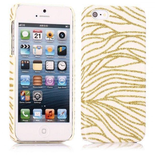 Glitter Wave (Valkoinen - Kulta) iPhone 5S Suojakuori - http://lux-case.fi/glitter-wave-valkoinen-kulta-iphone-5-suojakuori.html