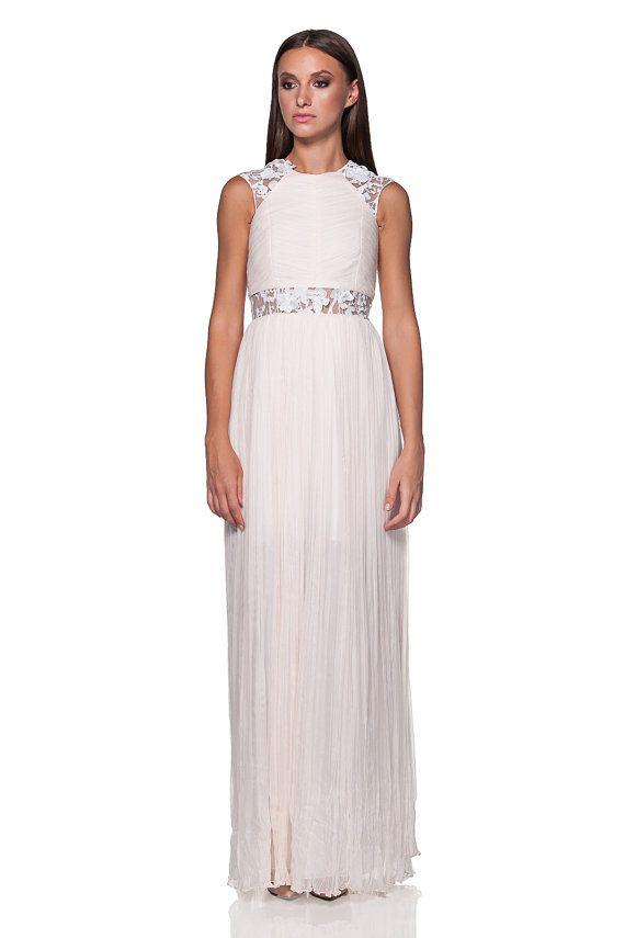 Silk wedding gown pleated dress silk boho style with 3d lace- Wedding dress- Wedding gown- Bohemian wedding dress- beach wedding dress