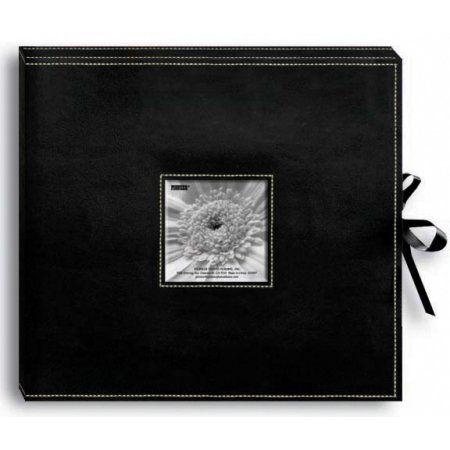 Pioneer Sewn Leatherette D-Ring Scrapbook Box, Black