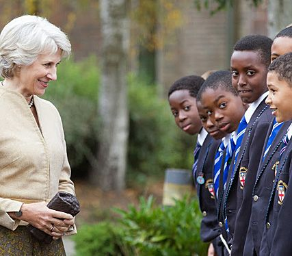 The Duchess of Gloucester meets pupils at King Edward's School in Surrey, 26 September 2013.