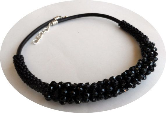 Black Bead And Leather NecklaceBlack Bead by knittingshop on Etsy
