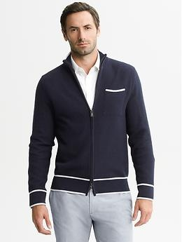 Mad Men® Collection Textured Zip Cardigan | Banana Republic