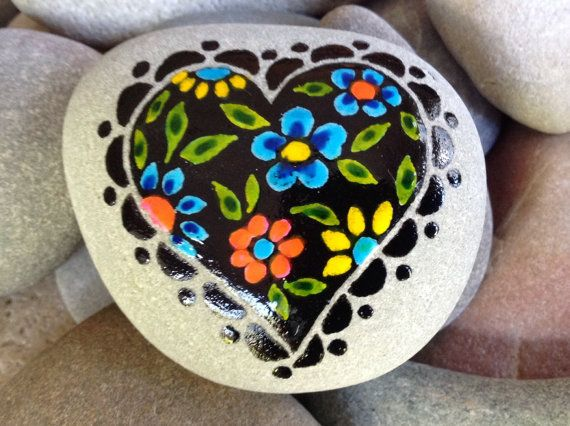 Love is Beautiful. Painted rock (sea stone) from Cape Cod Colors of layered water-resistant glaze inks over paint, in shades of turquoise,