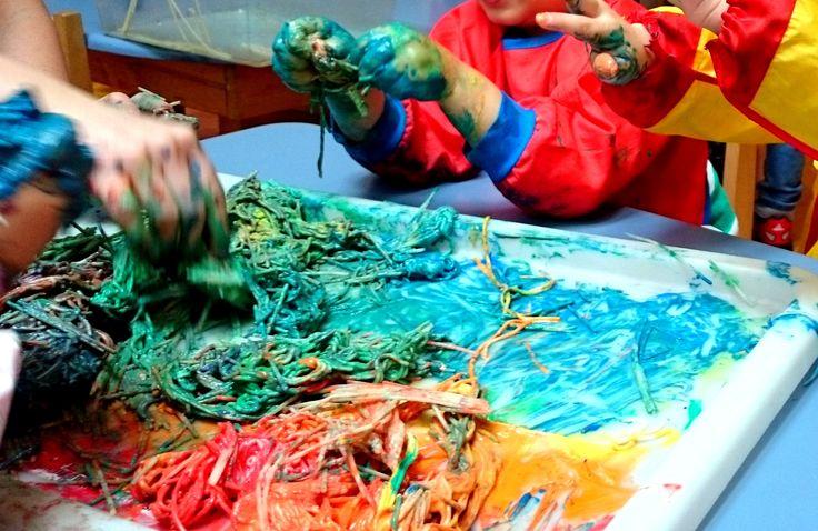 Pasta and paint messy play@AcornsNursery