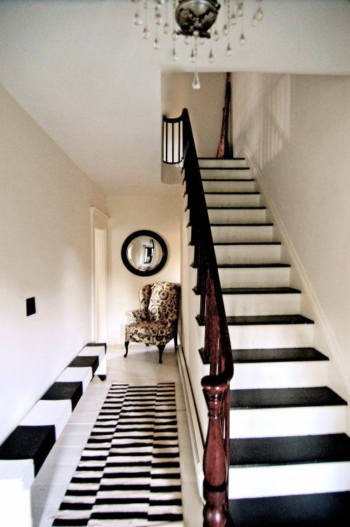 Black and white stairs. I see this working in a grander setting
