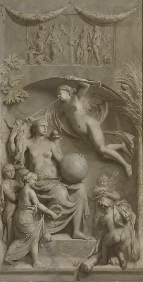 GRIJS: Een grisaille (van het woord 'gris', Frans voor grijs) is een schilderij waarbij geen kleur is gebruikt. Dit werd in de Oudheid al toegepast om een sculptuur te imiteren. Vanaf de renaissance werd het weer populair door de 'paragone': de strijd tussen schilders en beeldhouwers wie er het beste 'naar de werkelijkheid' kon weergeven. De beeldhouwer, of de schilder die zelfs een beeldhouwwerk kon imiteren? Gerard de Lairesse, 'Allegorie op de Roem', 1675-83, Rijksmuseum Amsterdam
