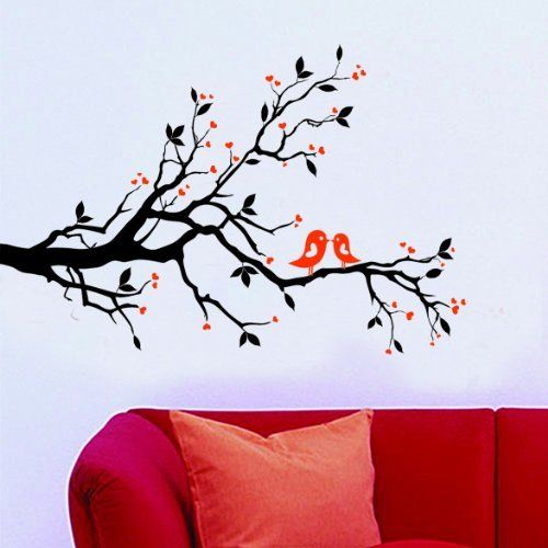 Living Room Wall Decals: WallStickersUSA Contemporary Wall Sticker Decal, Tree Branches, Leaves, Lovebirds, and Hearts, X-Large by WallStickersUSA. ............ Get Wall Decals at Amazon from Wall Decals Quotes Store