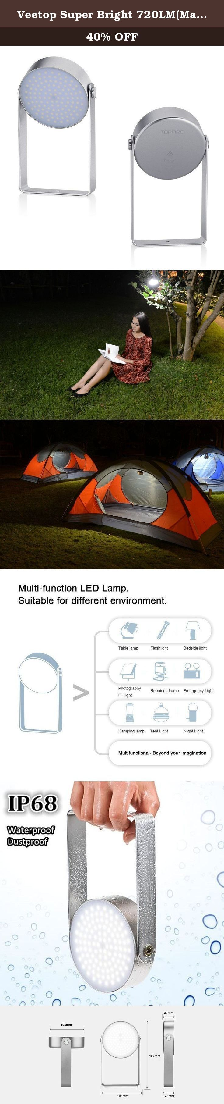 Veetop Super Bright 720LM(Max) LED Light, Waterproof LED lantern LED Lamp Light for Camping, BBQ, Hiking, Emergency Use, Car Repairing, Outdoor work, 7W, 5 Brightness Level, Rechargeable, IP68. Veetop Versatile LED Light perfects for outdoor activities, home and other emergency use. * As Outdoor Light: It can replace other camping, BBQ light easily with its ultra brightness ( max 720lm) and its high IP68 waterproof and dustproof performance. Underwater 2 meters for 2 hours. 3 meters...