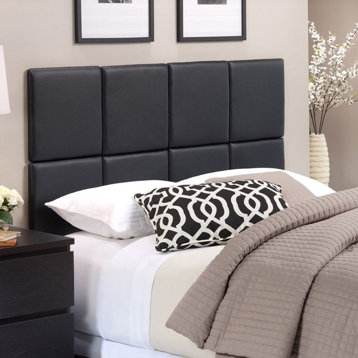 tessa matte black faux leather headboard tiles from hayneedlecom - Lowprofilekopfteil