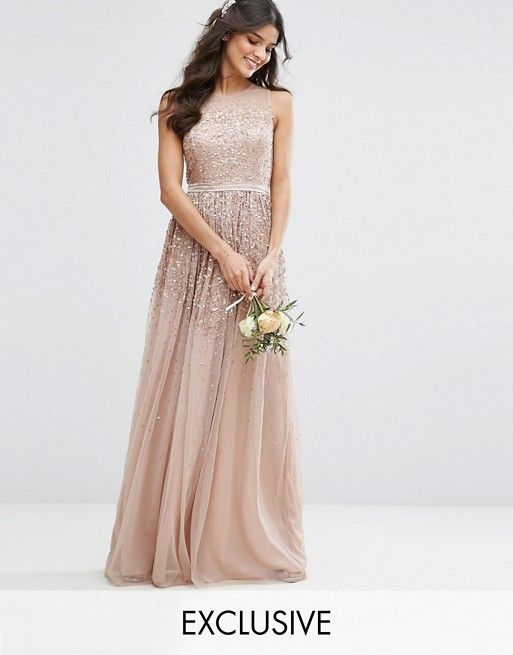 Asos Amelia Rose Mesh Maxi Dress with Sequin Embellished Placement $160
