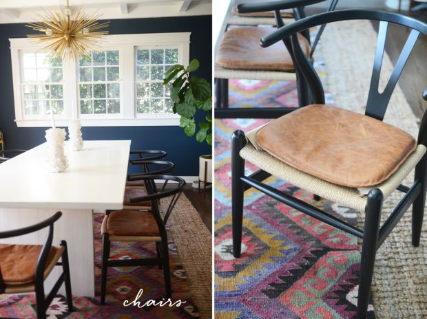 Dining Room Chairs: So, we found these black minimalist chairs on Amazon (for around $100 each) and added leather seat pads for a unique touch. Wishbone Chairs.