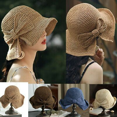 (eBay link) US Straw Hats Fashion Foldable Beach Sun Hat Brimmed New Women Summe… – We Are eBay