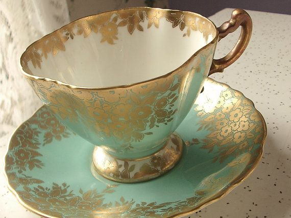 Vintage turquoise green tea cup and saucer set, Hammersley English tea set, green and gold bone china tea cup via Etsy