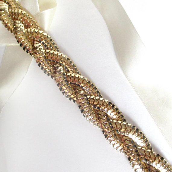 Unique Wedding Dress Sashes Belts: Long Braided Bridal Belt Sash In Gold