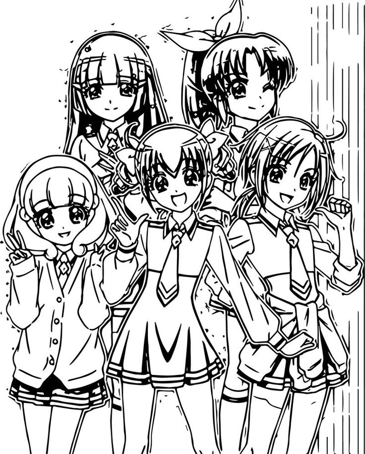 Glitter Force Girls Team Coloring Page di 2020